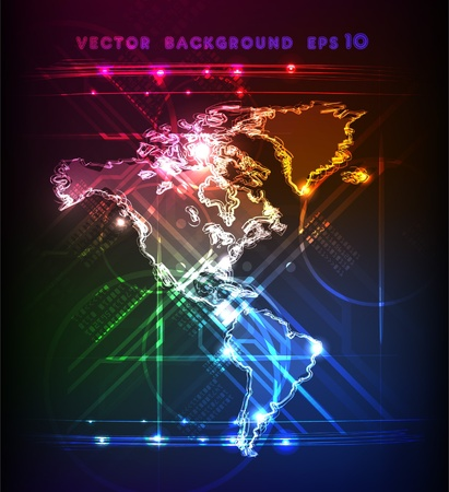 neon map of America Vector
