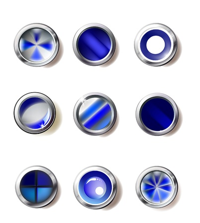 blue buttons collection Stock Vector - 10365358