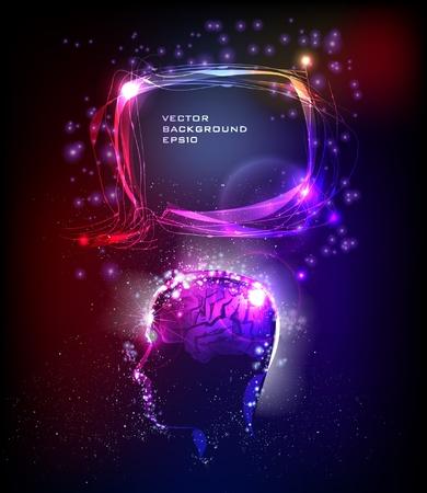 brilliant idea: neon background head and bubble