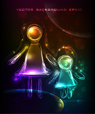 mather: neon mather and child Illustration