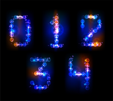 neon numbers Stock Vector - 10375542