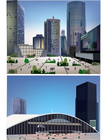 panorama of the modern square  Vector