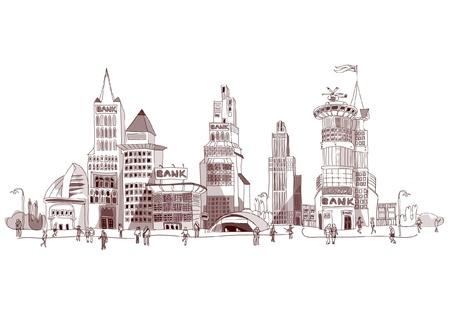 building trade: Banks Illustration with many details Illustration