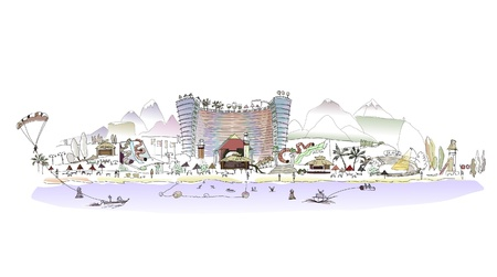 resorts: Beach hotel Illustration with many details