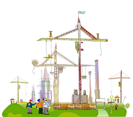 building construction site: building site illustration