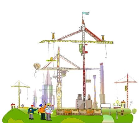 arquitecto caricatura: Ilustraci�n del sitio de construcci�n