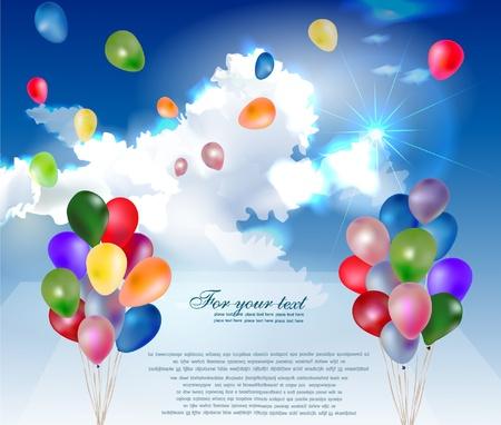 globos de cumpleaños: globos en el cielo