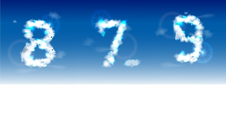 typesetter: numbers  made of clouds
