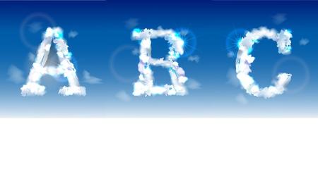 typesetter: alphabet made of clouds  Illustration