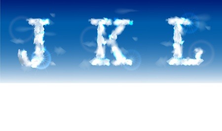 fluffy clouds: alphabet made of clouds  Illustration