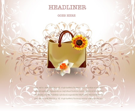 leather bag: background with bag