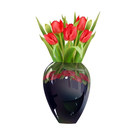 tuilips in vase Vector