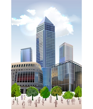 background with hi-rise buildings  Stock Vector - 10375482