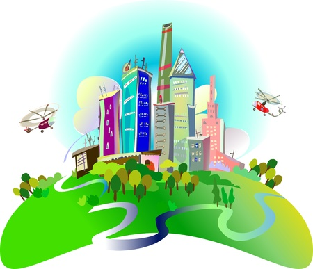 city illustration Stock Vector - 10375358