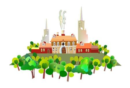 website traffic: city illustration  Illustration
