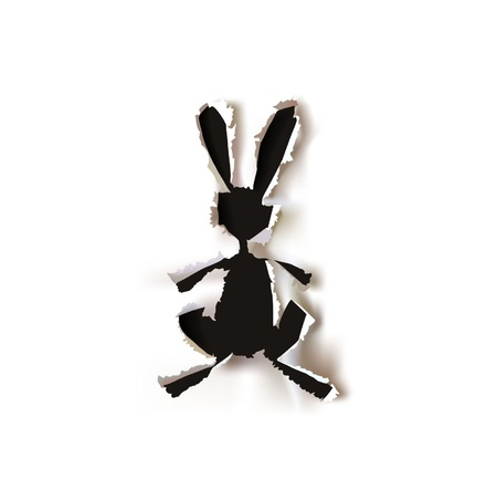 rabbit hole: paper ripped bunny