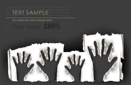 background with rising paper ripped hands  Vector