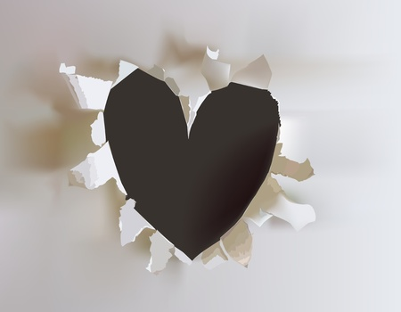 smooth shadow: ripped paper heart concept symbol Illustration
