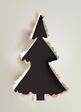 Christmas tree made of ripped paper Stock Vector - 10375367