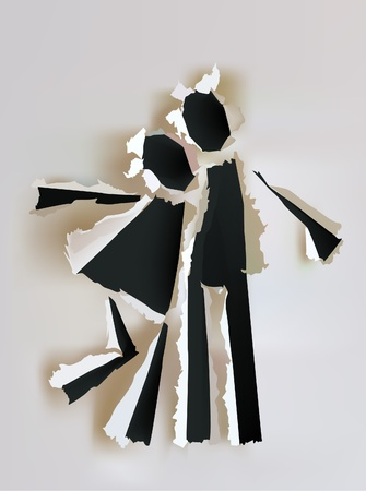shadow effect: paper collection Happy couple  Illustration