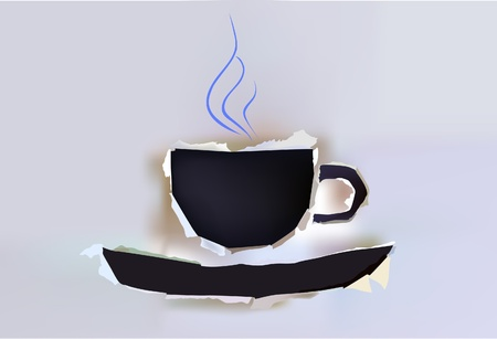 empty plate: cup of coffee Illustration