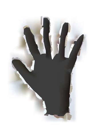 Hintergrund mit steigenden Papier zerrissen Hand