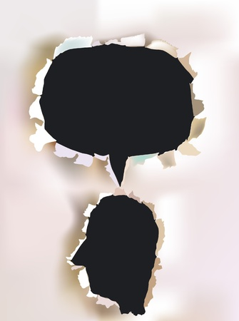 thought bubbles: paper head and bubble for your text