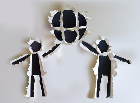 Altpapiersammlung Menschen halten Erdungssymbol Illustration