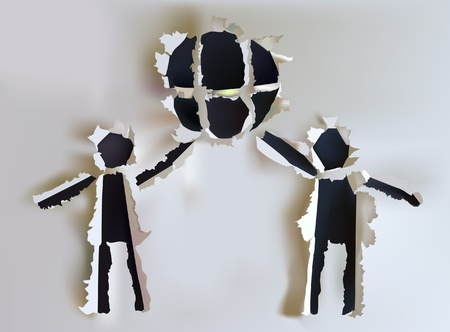 paper collection PEople holding earth symbol