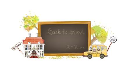 school girl uniform: Torna a sfondo scolastico Vettoriali