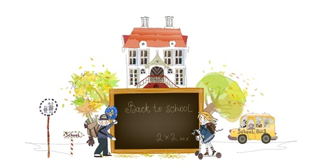 school girl uniform: Back to school background  Illustration