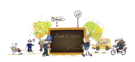 student travel: Back to school background  Illustration