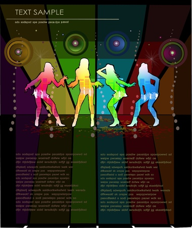 sexy woman disco: background with pousing girls