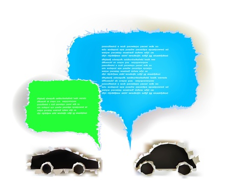 background with ripped paper cars and text bubbles  Illustration
