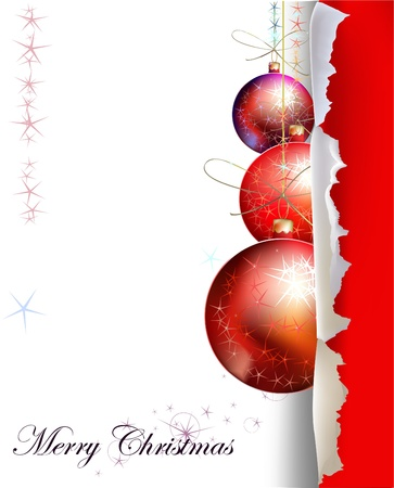 shadow effect: Christmas background with balls Illustration