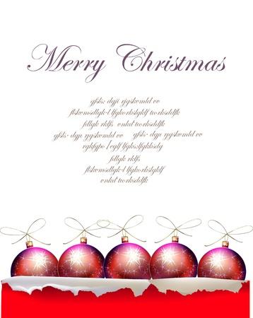 christmas robin: Christmas background with balls