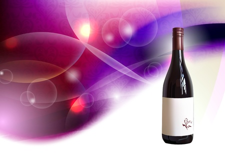 bottle of wine on abstract background Vector