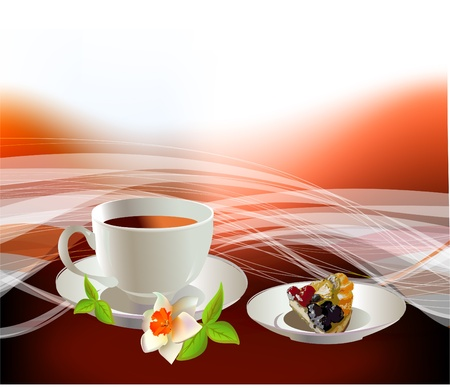 a cup of tea or coffee  and cheasecake  Stock Vector - 10402785