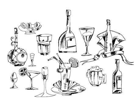 set of alcoholic drinks for menu designs Vector