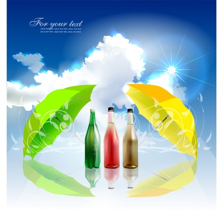 mineral and fruits water background Vector