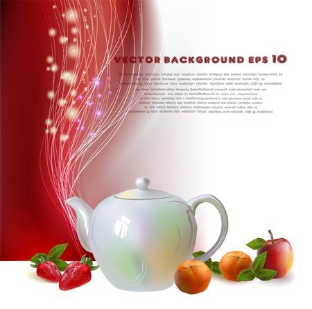 chinese tea cup: olla de t� de frutas de la ilustraci�n