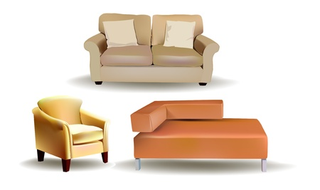 leather armchair: set of sofas