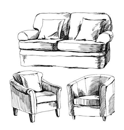 sketch: doodle van meubilair Stock Illustratie