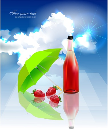 refreshments: fruity water  Illustration