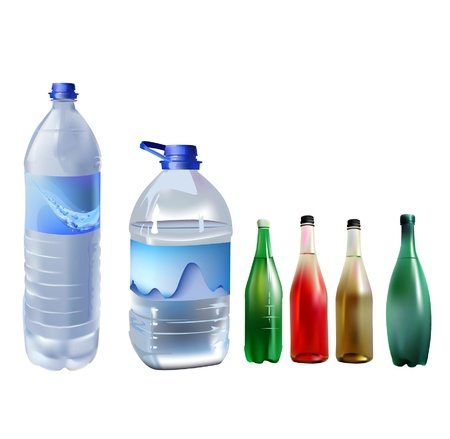 mineral water bottles: set of water bottles Illustration