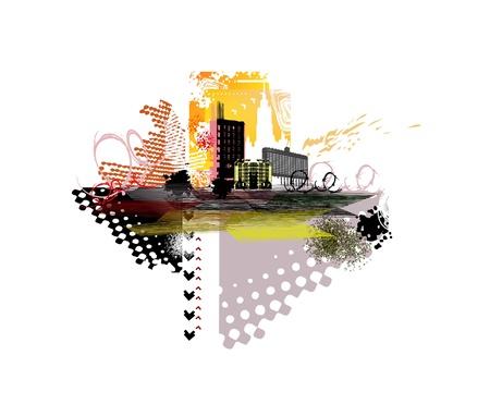 abstract city: city grunge illustration  Illustration