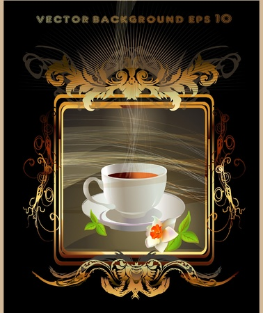 tea of coffee golden label Vector