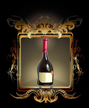 liqueur labels: golden wine Illustration