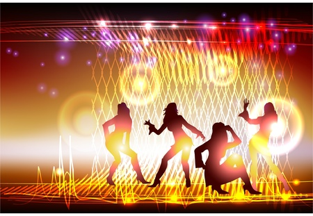 dancing club: neon background with dancing girls  Illustration