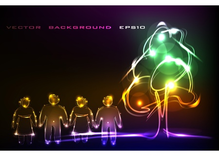 laser tag: neon background with people and tree